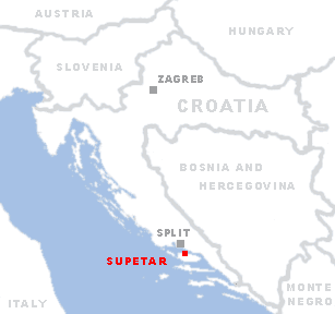 Click on this map of Croatia to see some pictures of Supetar